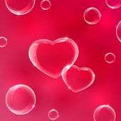 picture of soapy  - Red Valentines background with soap bubbles in the form of Hearts - JPG