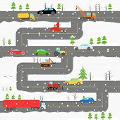 pic of car carrier  - Winter road with cars illustration - JPG