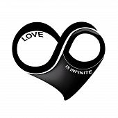 pic of mobius  - a black and white infinity symbol in a heart shape in a white background - JPG
