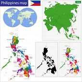 picture of luzon  - Map of Republic of the Philippines with the provinces colored in bright colors - JPG
