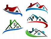 stock photo of colorful building  - Building symbols with home roofs for real estate business design - JPG