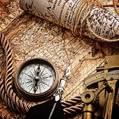 Постер, плакат: vintage still life with compass sextant and old map map used for background is in Public domain Map