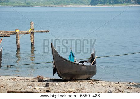 Ocean Coast Landscape With Traditional Indian Boat