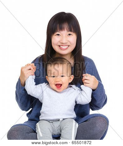 Happy mother and baby son