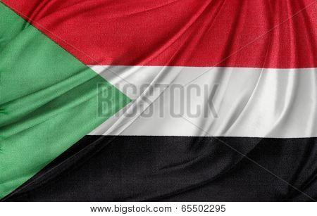 Closeup of silky Sudanese flag