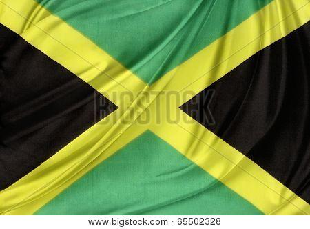 Closeup of silky Jamaican flag