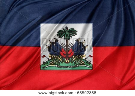 Closeup of silky Haitian flag