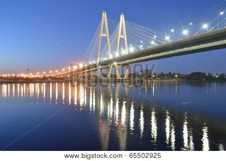 Cable-stayed Bridge At Night, St.petersburg.