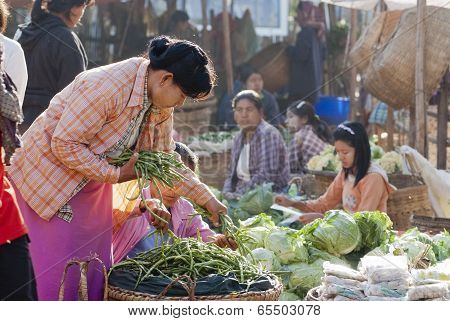 Morning Market In Myanmar
