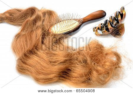 Artificial hair and accessories for women hairstyles in still life
