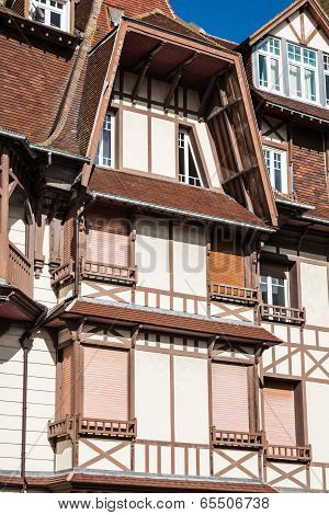 Stylized Half-timbered House. Etretat Is A Commune In The Seine