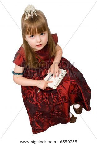 Pretty Girl With A Notebook And Pen, isolated