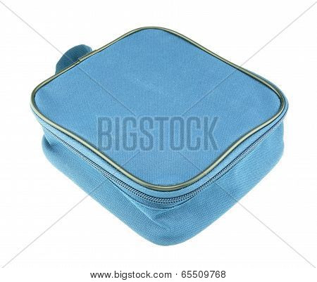 Blue Nylon Bag Closed By Zipper Isolated