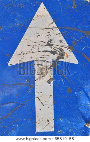 Roadworks, road sign, white arrow