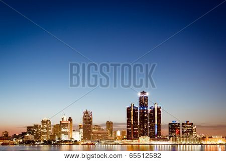 Detroit, Michigan Skyline At Twilight