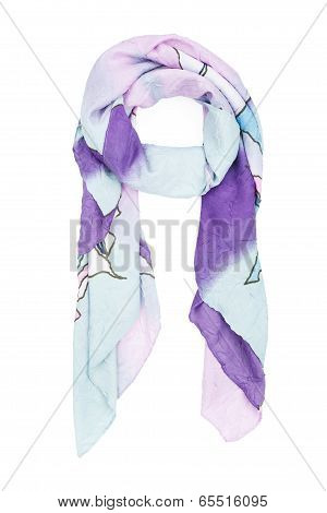A neckerchief silk with a blue decorative pattern, isolated on a white background