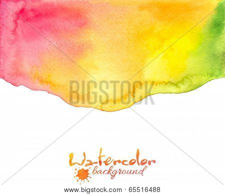 Red-yellow-green watercolor vector background