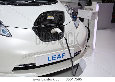 Nissan Leaf And Charging Station At The Geneva Motor Show
