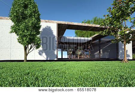 Bungalow With Terrace And Lawn