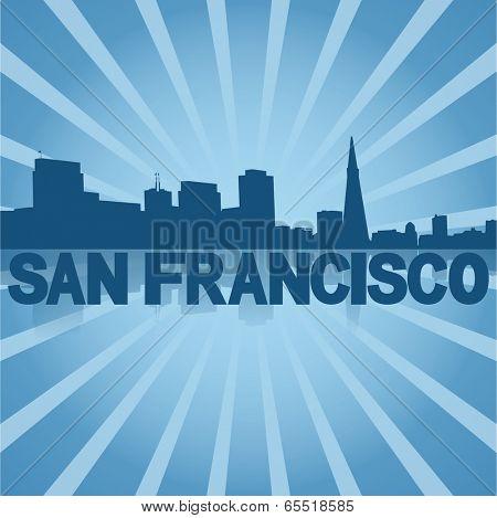 San Francisco skyline reflected with blue sunburst vector illustration