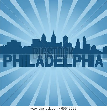 Philadelphia skyline reflected with blue sunburst vector illustration