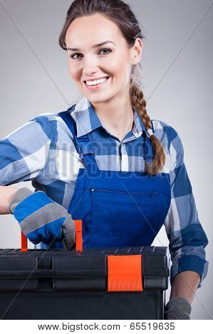 Handywoman With A Toolbox