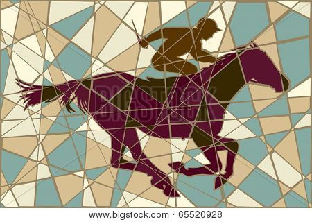 Editable vector colorful mosaic illustration of a jockey riding a racing horse