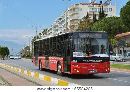 ANTALYA, TURKEY - MARCH 26, 2014: Public bus Antobus, from Antalya bus, on the line. Public transport in Antalya used by 38 percents of habitans