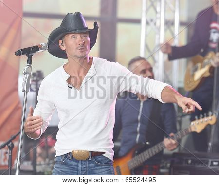 NEW YORK-MAY 23: Tim McGraw performs at the Toyota Concert Series on the Today Show at  Rockefeller Plaza on May 23, 2014 in New York City.