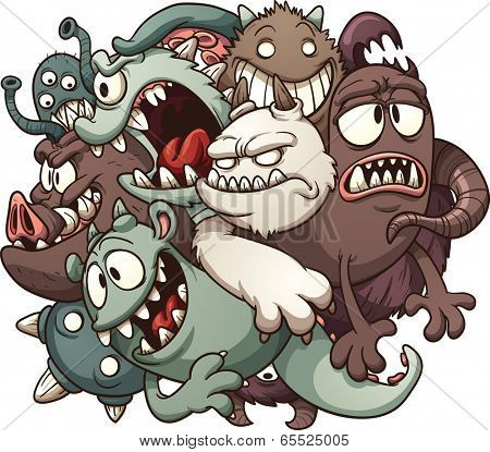 Cartoon monsters. Vector clip art illustration with simple gradients. All in a single layer.