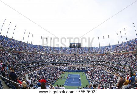 Arthur Ashe Stadium at the Billie Jean King National Tennis Center during US Open 2013 tournament