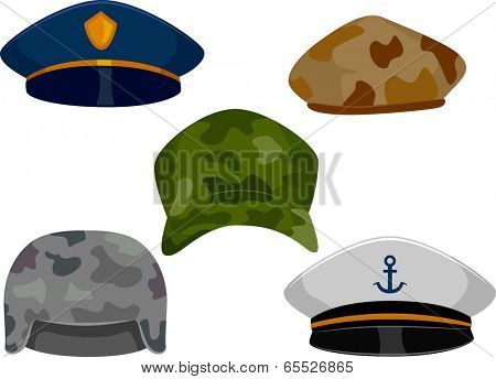 llustration Featuring Different Types of Hats Associated with the Military