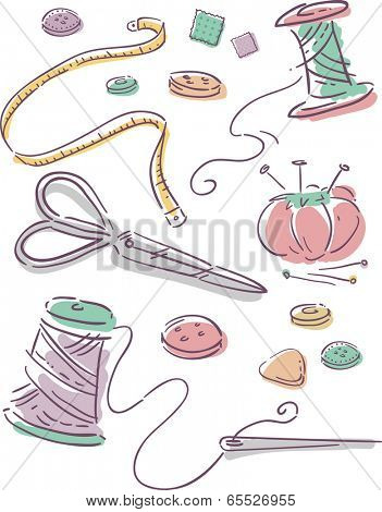 Illustration Featuring Elements Commonly Associated with Sewing