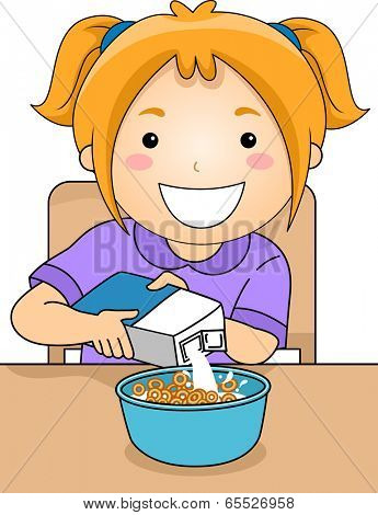 Illustration of a Little Girl Pouring Milk on a Bowl of Cereal