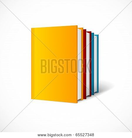 Vector book cover set perspective . Books shelf icon.