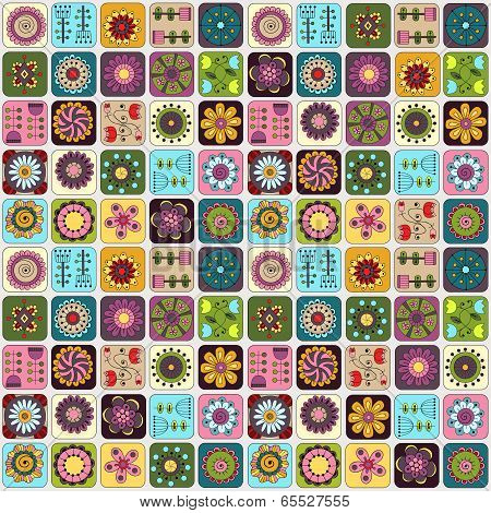 Seamless pattern. Sampler doodle flowers, leaves, hearts.
