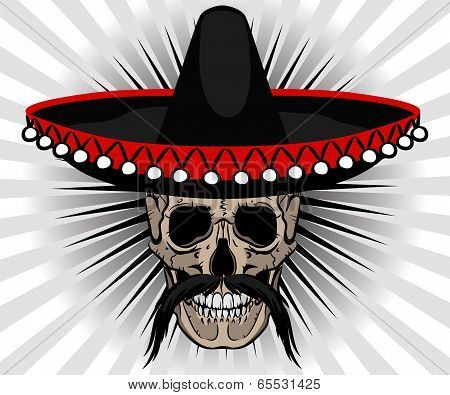 Skull Mexican style with sombrero and mustache