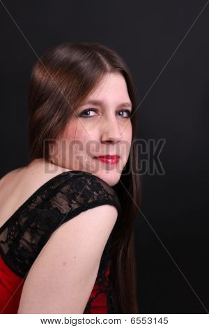 Pretty Long Haired Brunette Woman