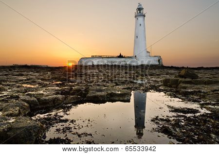 Reflected St Marys Lighthouse At Sunseet