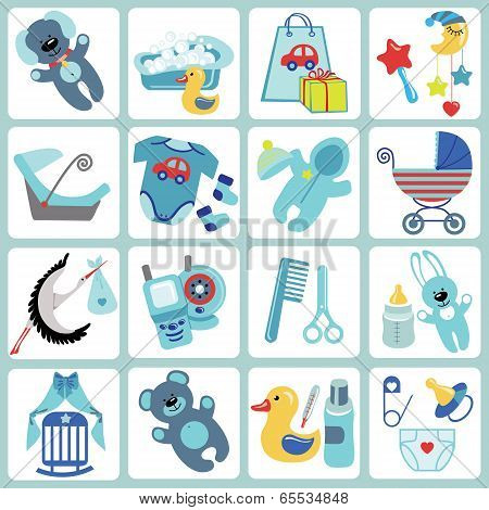 Cute Cartoons Icons For Baby Boy.newborn Set