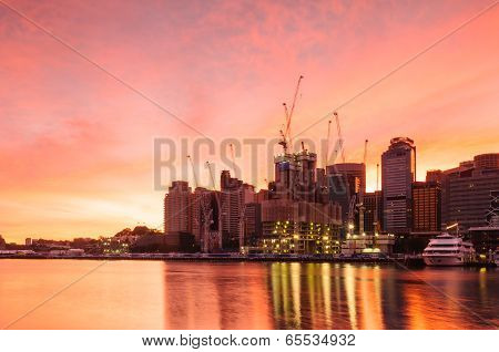 Sydney Darling Harbour On Sunsise