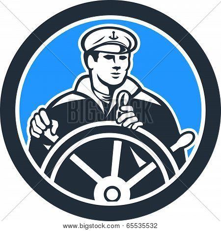 Fisherman Sea Captain Circle Retro