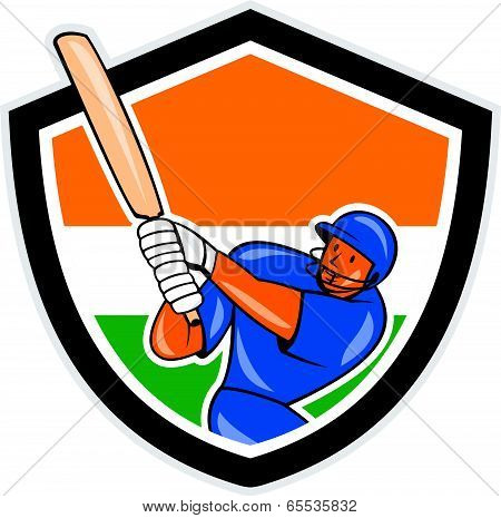 India Cricket Player Batsman Batting Shield Cartoon