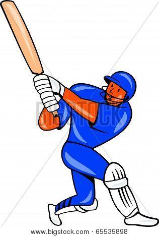 India Cricket Player Batsman Batting Cartoon