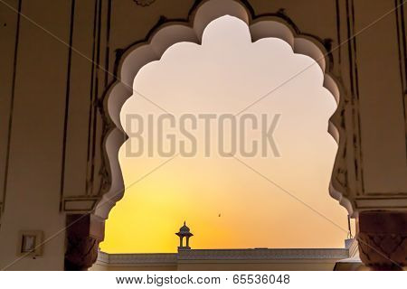 Sunset With View To A Top Of A Small Temple In Jaipur