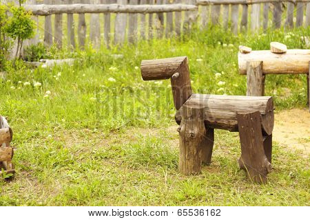Decorative wooden figure for garden design, outdoors