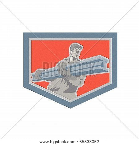 Metallic Construction Steel Worker Carrying I-beam Shield Retro