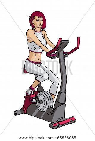 Girl doing exercise on a velosimulator