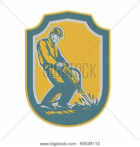 Metallic Construction Worker Jackhammer Drill Shield Retro