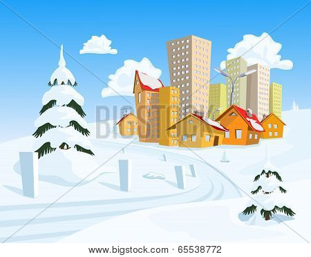 Colored Vector Town With Snowy Road